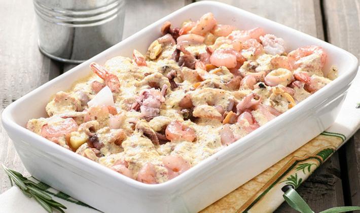 Gratin de pâtes aux fruits de mer recette facile