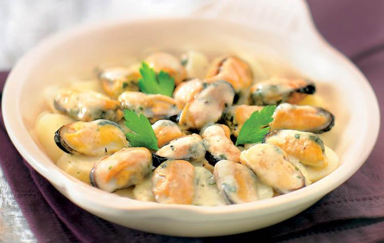 Moules a la creme aux pommes de terre