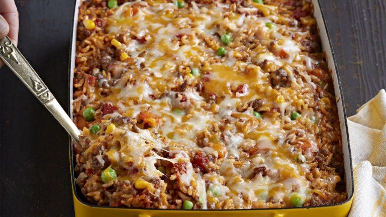 Gratin de riz à la viande hachée recette mexicain