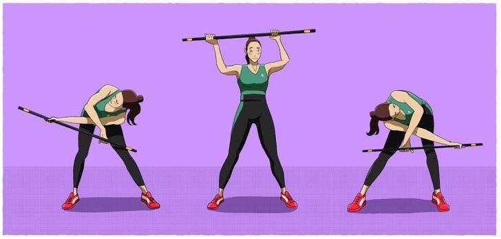 8 exercices à faire avec un manche à balai pour réduire la graisse du dos et tonifier les bras